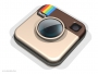 3d illustration of a large Instagram logo over a white reflective surface